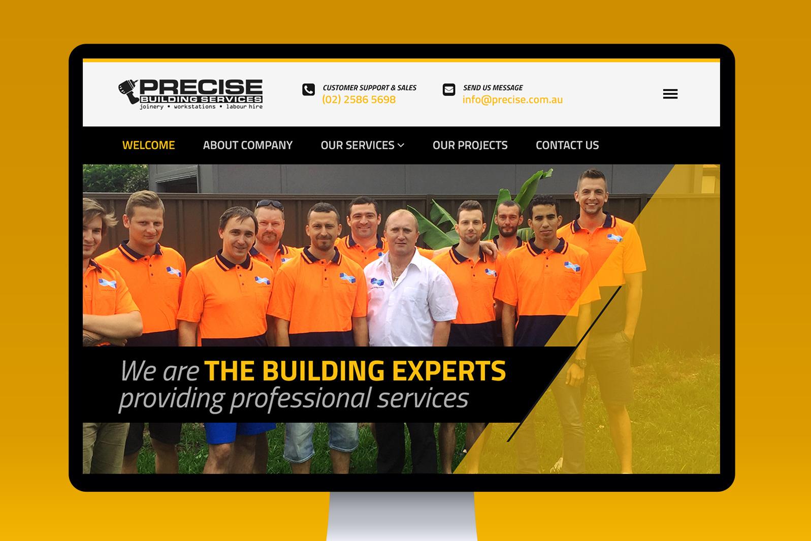 Projekt iwdrożenie responsywnej strony internetowej dla firmy budowlanej Precise