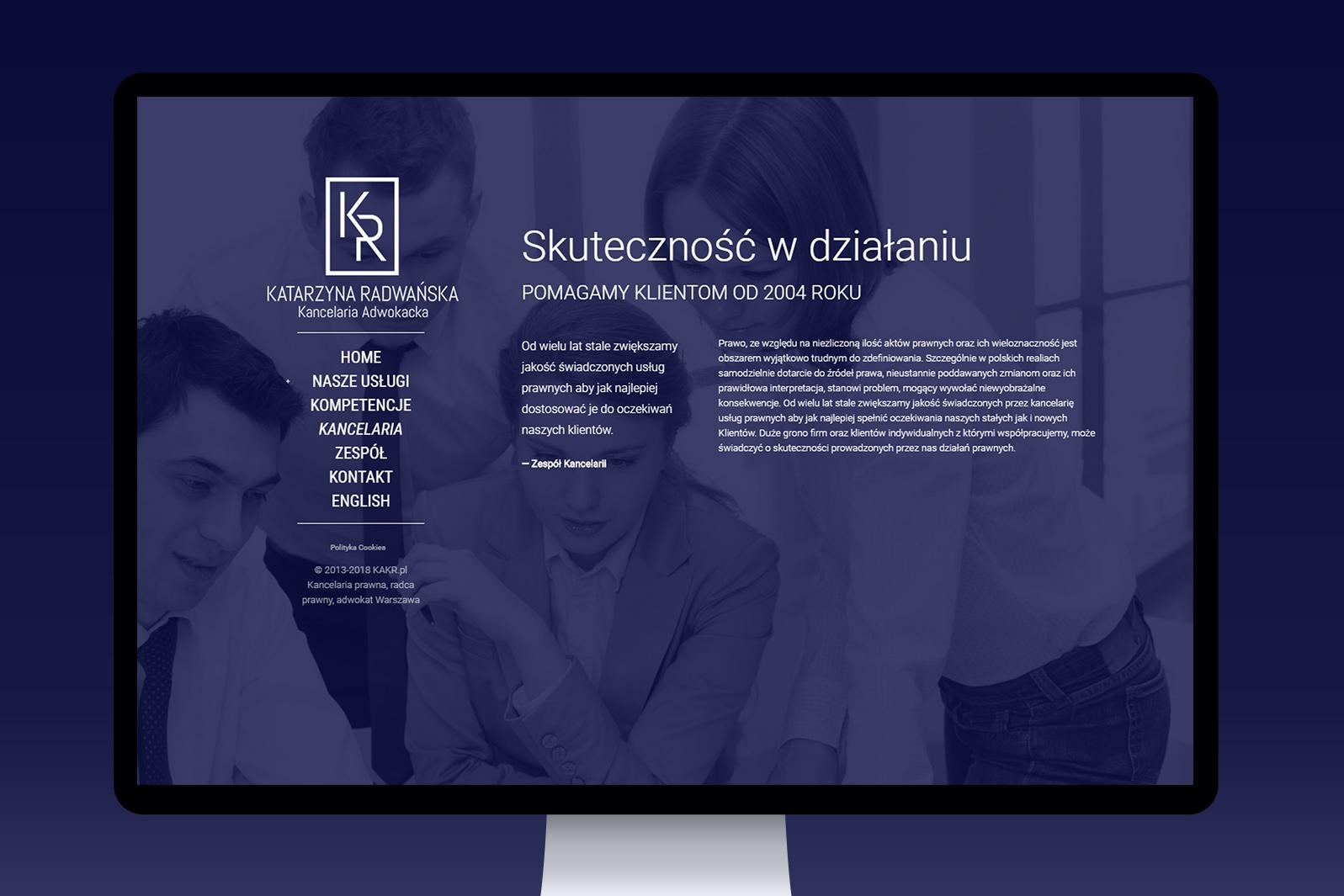 Projekt iwdrożenie responsywnej strony internetowej dla Kancelarii Adwokackiej KR