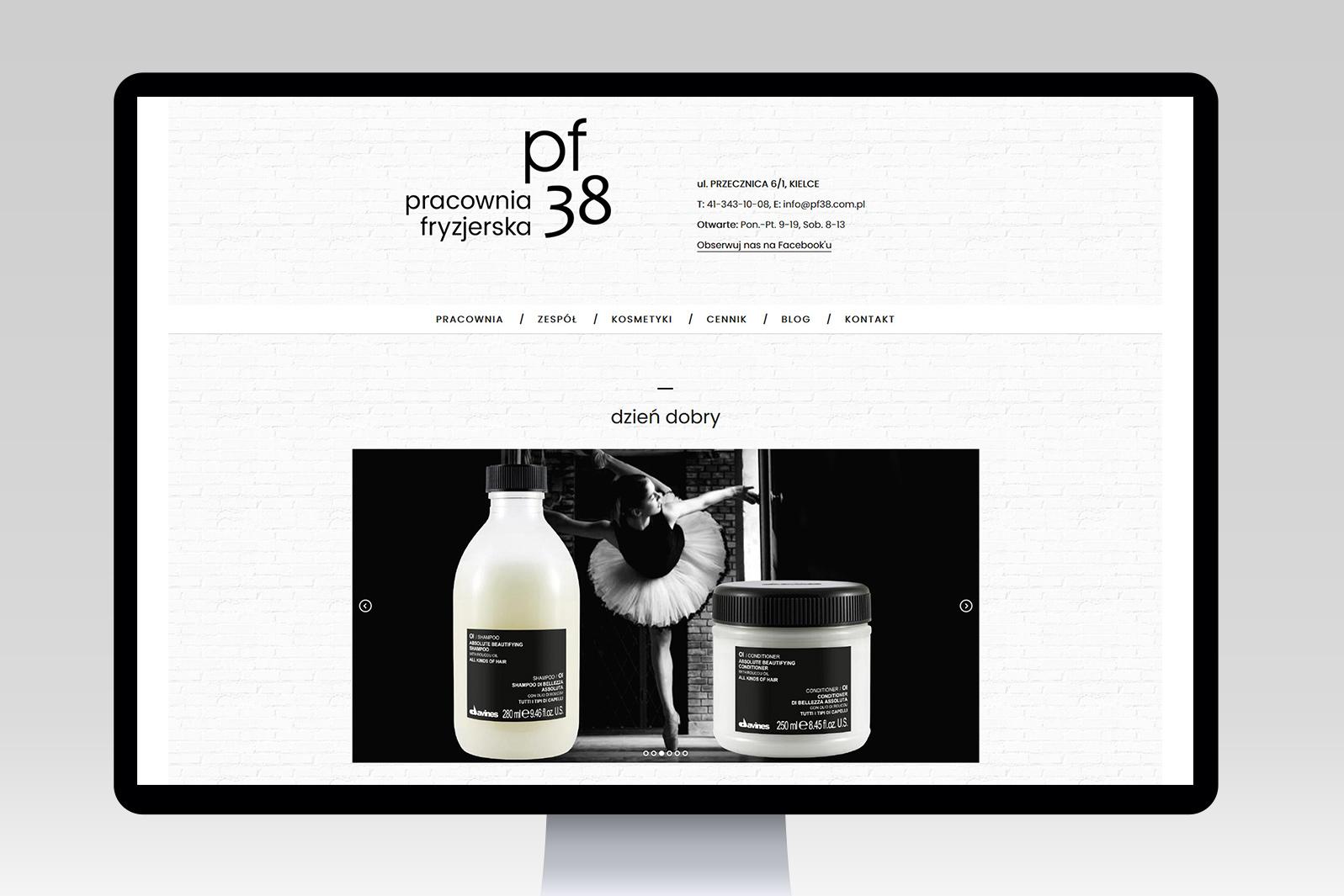 Projekt iwdrożenie responsywnej strony internetowej dla salonu fryzjerskiego pf38