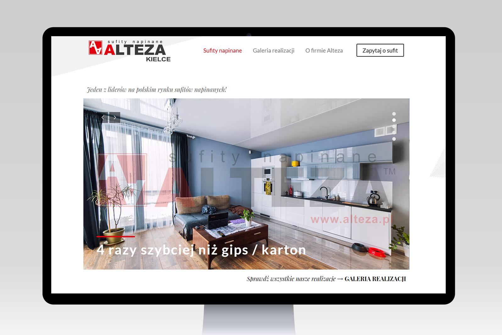 Projekt iwdrożenie strony internetowej dystrybutora sufitów napinanych Alteza