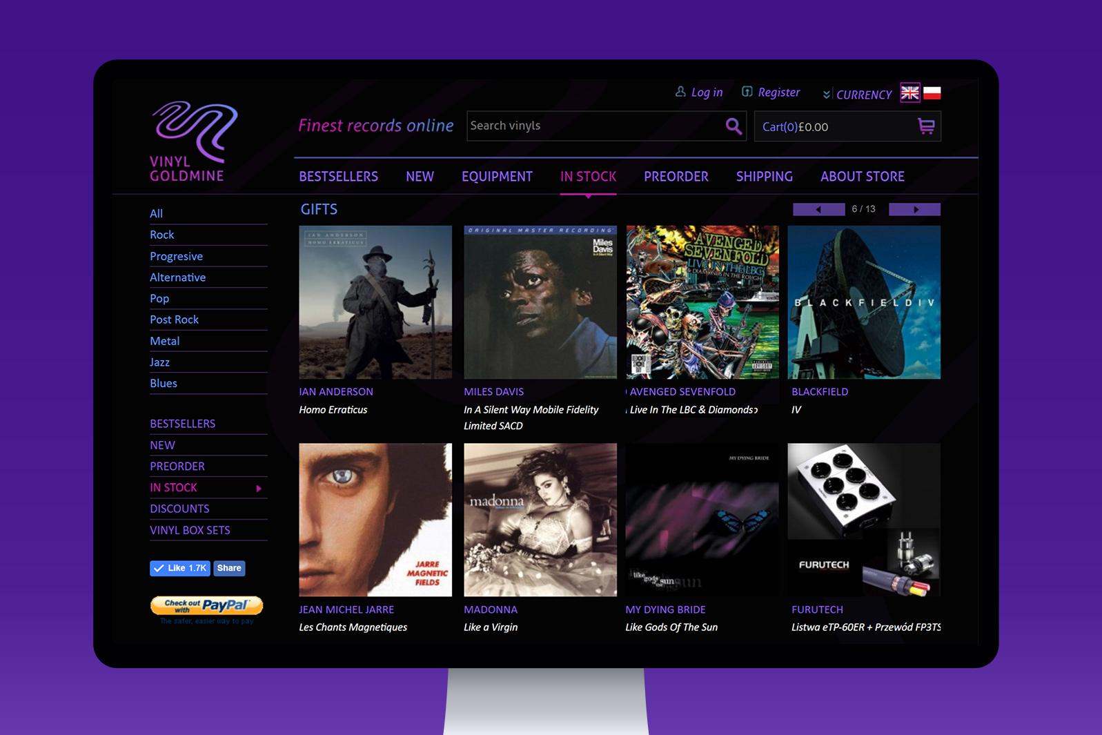 Projekt graficzny muzycznego sklepu internetowego Vinyl Goldmine