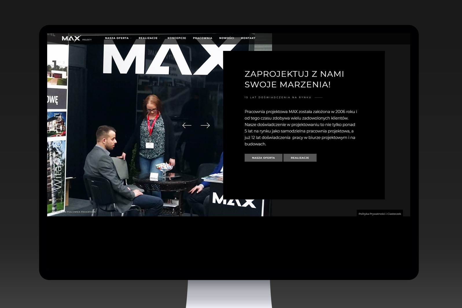 Projekt iwdrożenie responsywnej strony internetowej dla Pracowni Projektowej MAX