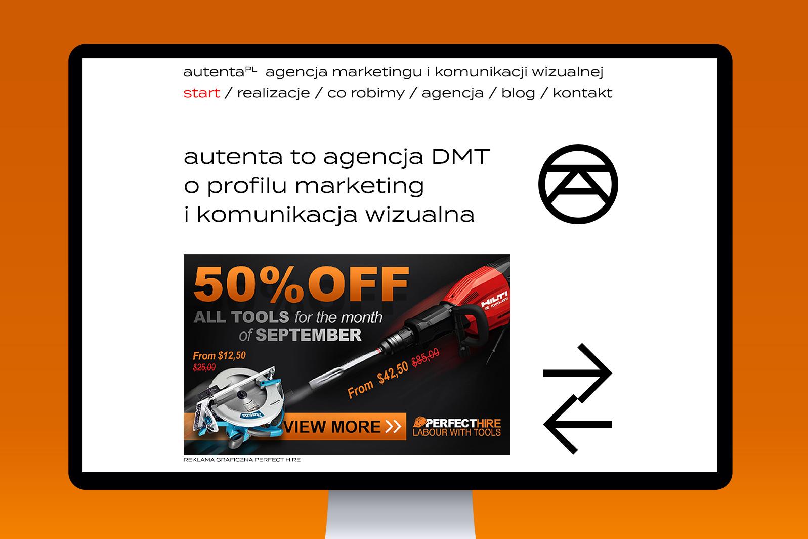 Projekt graficzny strony internetowej agencji marketingu Autenta