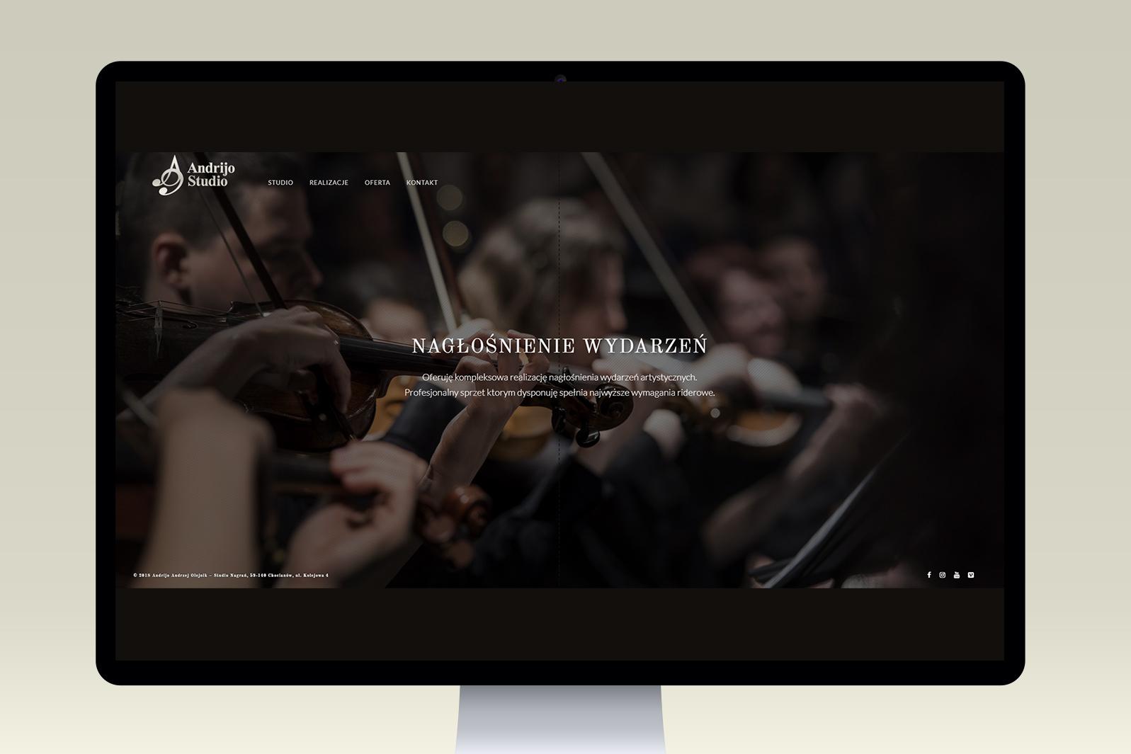 Projekt iwdrożenie responsywnej strony internetowej dla studia muzycznego Andrijo Studio