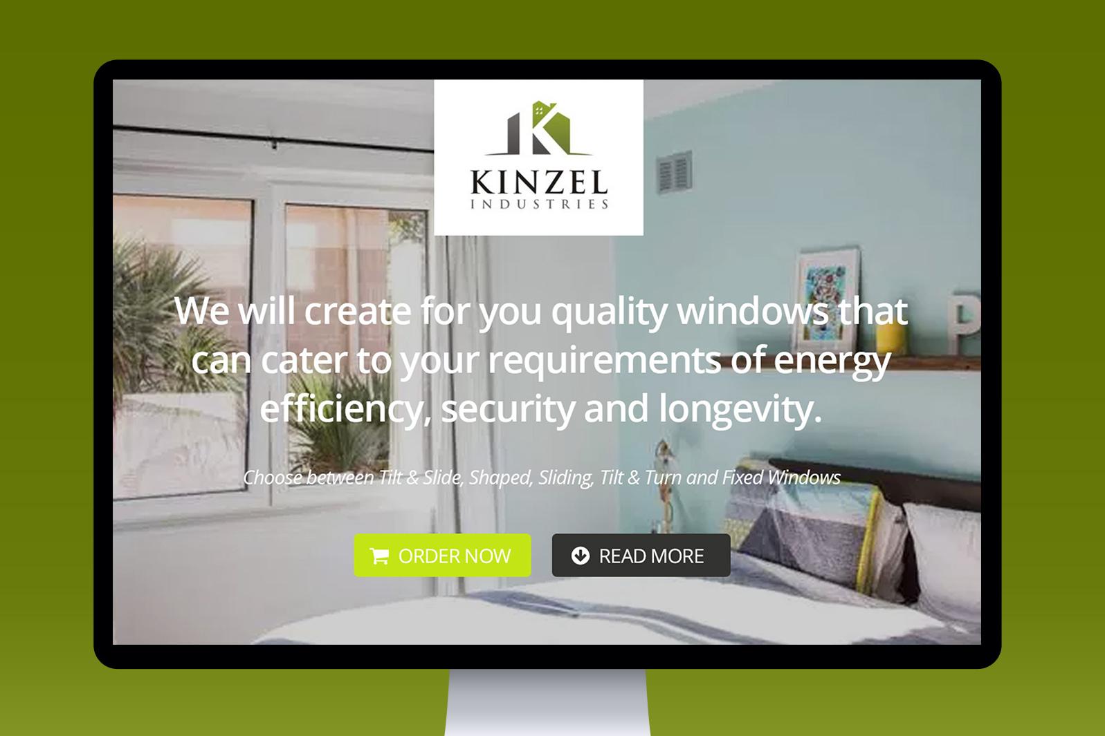 Projekt graficzny Landing Page dla producenta okien Kinzel Industries